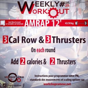 Weekly workout, workshop rameur